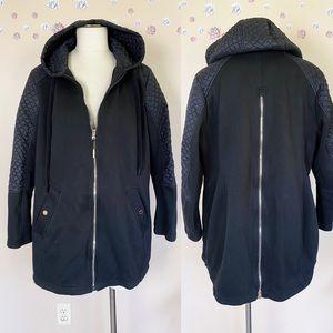 Michael Kors Zip Front Zip Back Hooded Knit Coat